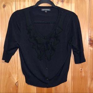 Express black short sleeve ruffle cardigan size M